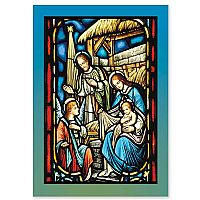 Stained Glass Nativity with Angel