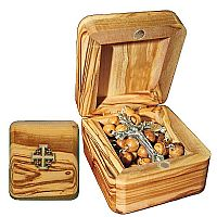 Jerusalem Olivewood Rosary and Box