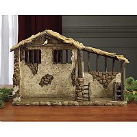 "Lighted Stable for 7"" Real Life Nativity Set"