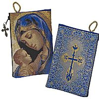 Madonna and Child Cross Tapestry Rosary Pouch