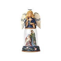Angel with Holy Family Glass Dome