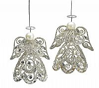 Silver Victorian Angel Ornaments