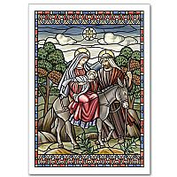 Stained Glass Style Flight Into Egypt