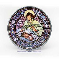 Guardian Angel over Girl Stained Glass