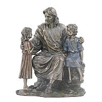 Jesus with Little Boy and Girl Statue