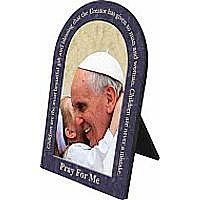 Pope Francis with Child Arched Desk Plaque