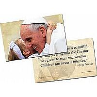 Pope Francis with Child Laminated Holy Card