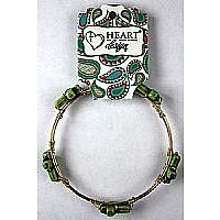 Stone Cross Green Bangle Bracelet - Large