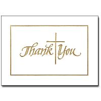 Gold Cross Thank You Notes